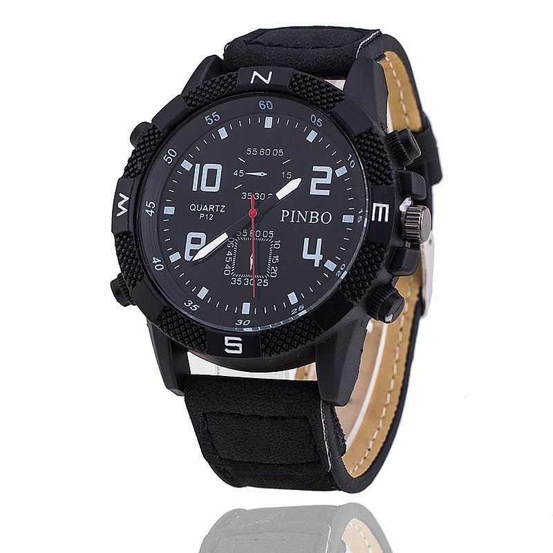 Relojes offre spéciale de mode de luxe marque Pinbo noir en cuir montre ours hommes militaire sport Quartz montre mâle horloge Chasy