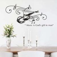 Populaire Behang art Muziek Is Gods Gift Aan Man Gitaar Muursticker Vinyl Waterdicht Verwisselbare Muurstickers Moderne Interieur
