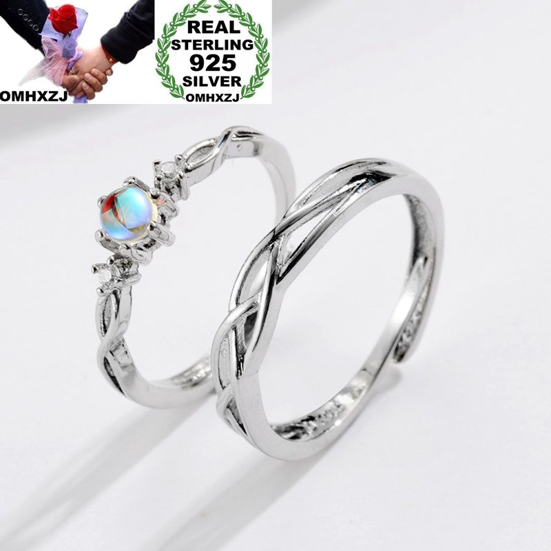 OMHXZJ Wholesale European Fashion Woman Man Party Wedding Gift Silver Lovers Moonstone Resizable 925 Sterling Silver Ring RR242