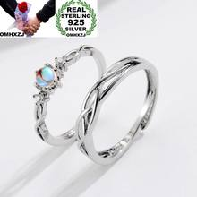 OMHXZJ Wholesale European Fashion Woman Man Party Wedding Gift Silver Lovers Moonstone Resizable 925 Sterling Silver Ring RR242(China)