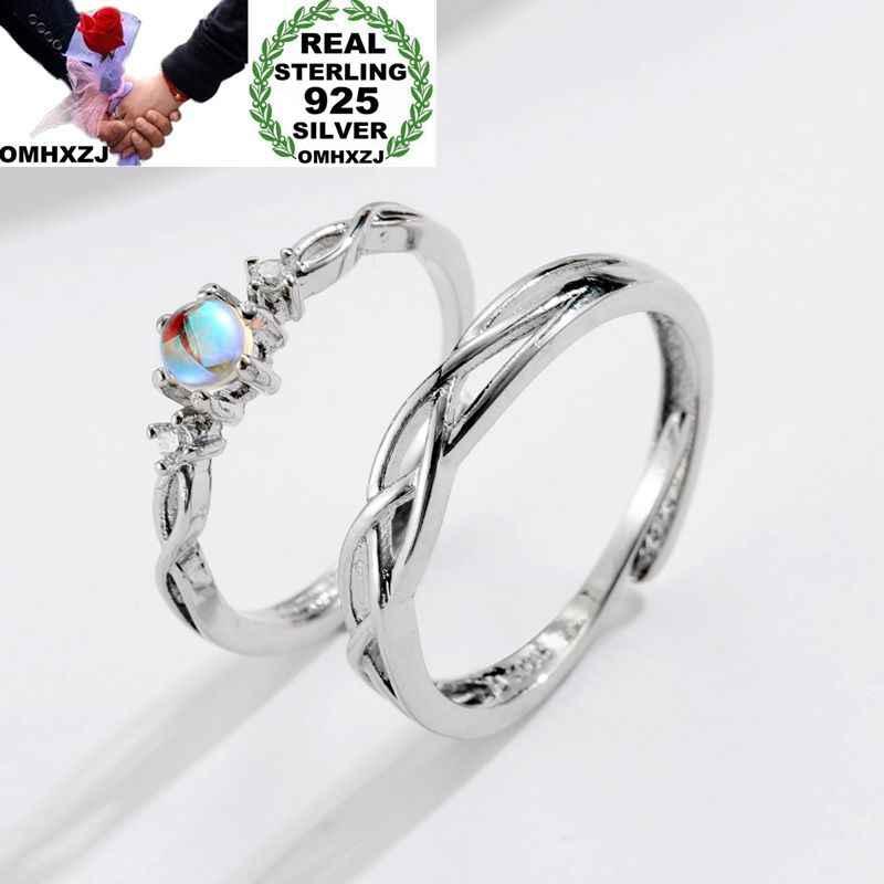 OMHXZJ ขายส่งยุโรปผู้หญิงผู้หญิงแฟชั่นผู้หญิงงานแต่งงานของขวัญคนรักเงินมูนสโตนปรับขนาดได้ 925 เงินสเตอร์ลิงแหวน RR242