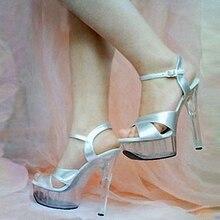 Hong Kong star endorsements 15CM high heels, leather cross-sandals,Dance Shoes