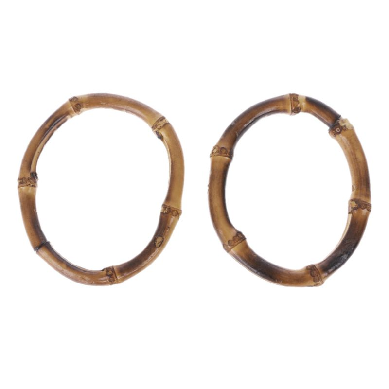 THINKTHENDO Round DIY Nature Handmade Bag Handle Bamboo Handle Frame Replacement Handle Bag Accessories