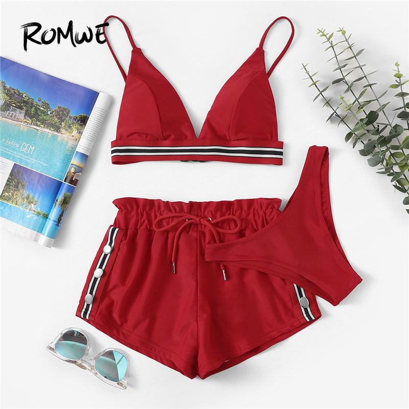 Romwe Sport Red 3 Pieces Pack Bikinis Set Striped Trim Triangle Bra With Panty And Beach Shorts Women Swimming Sets Swimsuit