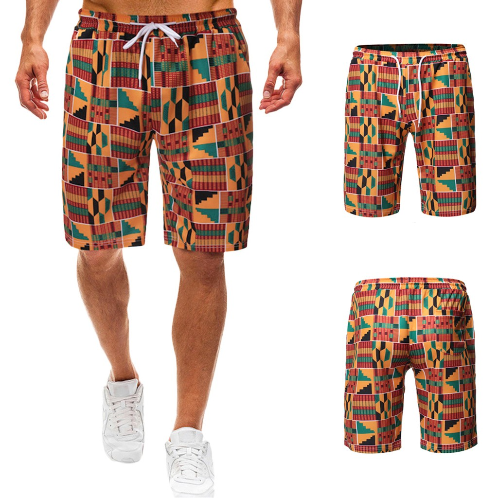 Mens Flame Causal Beach Shorts with Elastic Waist Drawstring Lightweight Slim Fit Summer Short Pants with Pockets