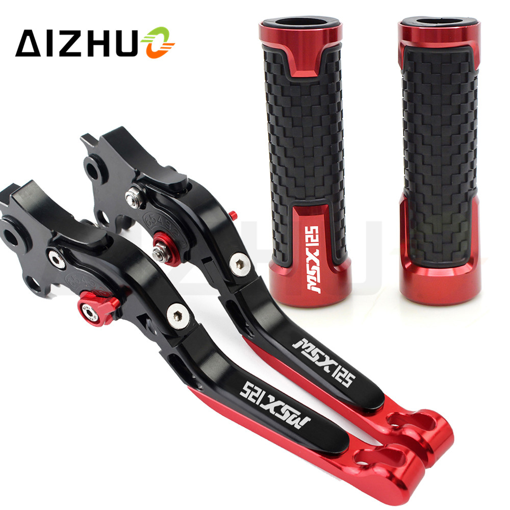 Motorcycle Parts Clutch Brake Lever Extendable Adjustable+Handle Grips For Honda GROM MSX125 MSX 125 2014-2017 2015 2016
