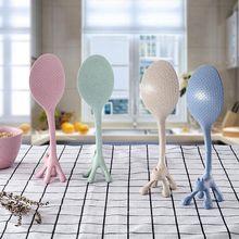 Креативная мультяшная Милая рисовая ложка с кошкой, вертикальные ложки с пшеничной соломинкой, рисовая ложка с изображением животных для детей, кухонный инструмент, рисовый сервер