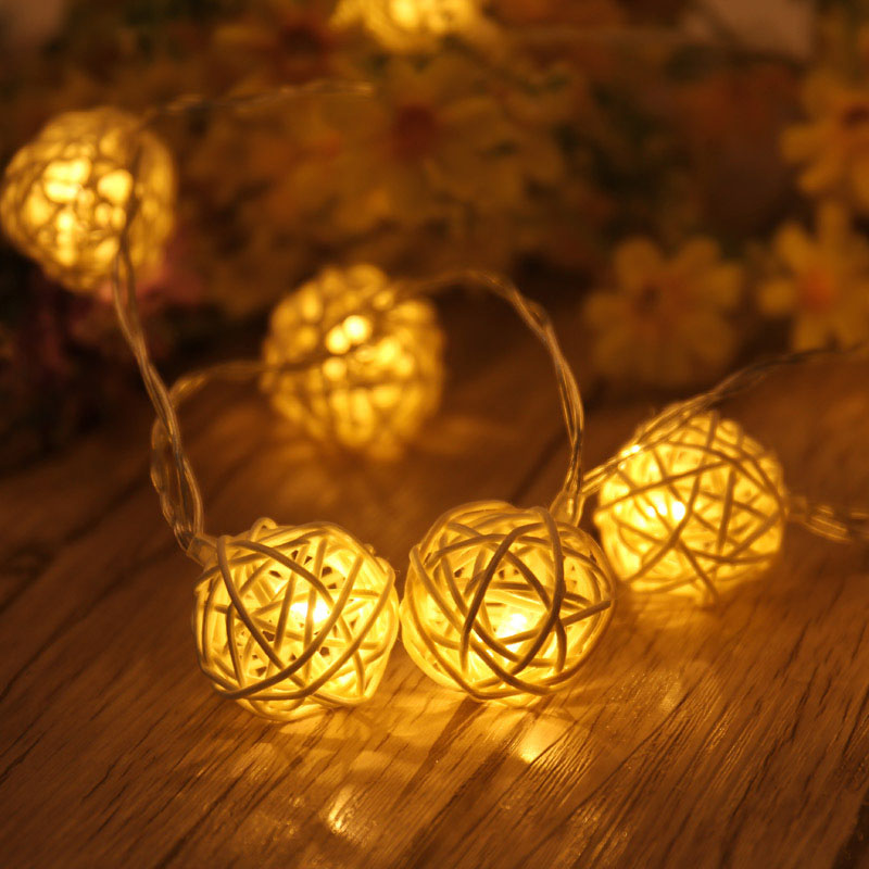 AC110-220V US/EU Plug 4.5M 20LED Warm White Rattan Ball LED String Lighting Christmas Light For Wedding Party Decoration