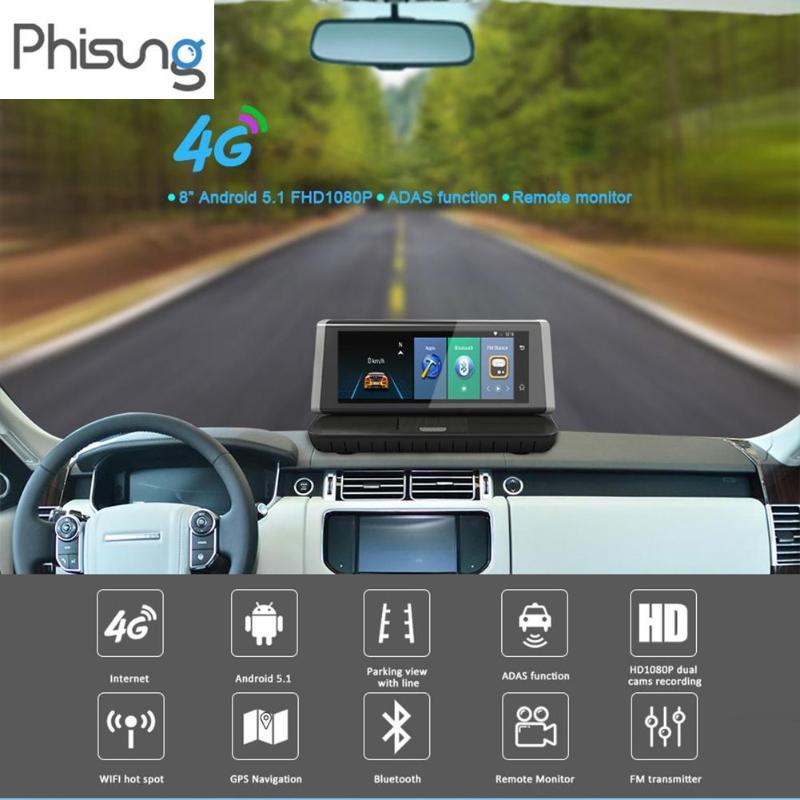 Hot Phisung E02 8inch Car DVR Touch 4G WiFi Android 5.1 Full HD 1080P Car DVR Camera Video Recorder GPS ADAS Dual Lens Dash Cam cnikesin e02 8 car gps android wifi dvr 4g 1080p hd gps car navigation camera carro rear parking bluetooth camera car recorder