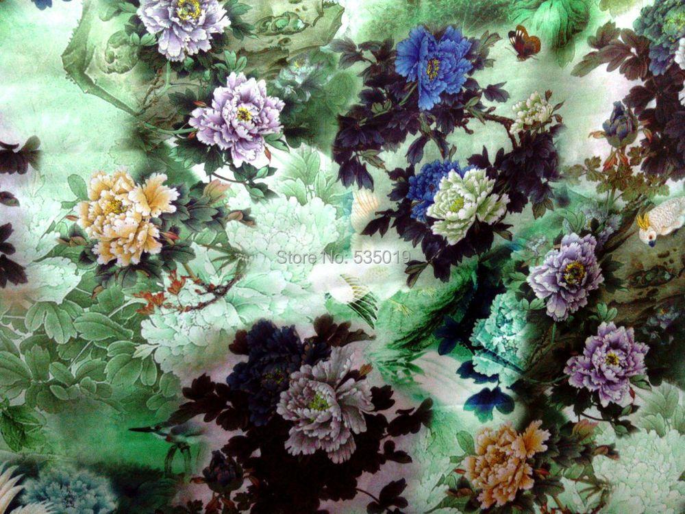 High quality 93% silk 7% spandex green flower prinedt silk satin fabrics for dress shirt clothes scarf stretch silk fabric