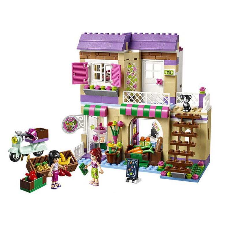 BELA 10495 Heartlake Food Market 41108 Building Blocks Model Toys for Children Compatible with Legoe Friends Bricks Figure compatible with lego friends 3185 bela 10170 1118pcs housework time panorama figure building blocks bricks toys for children