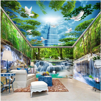 beibehang Wall Wallpaper Custom Forest Falls Lake Pigeon Smallpox whole room Background Modern Mural for Painting Home Decor