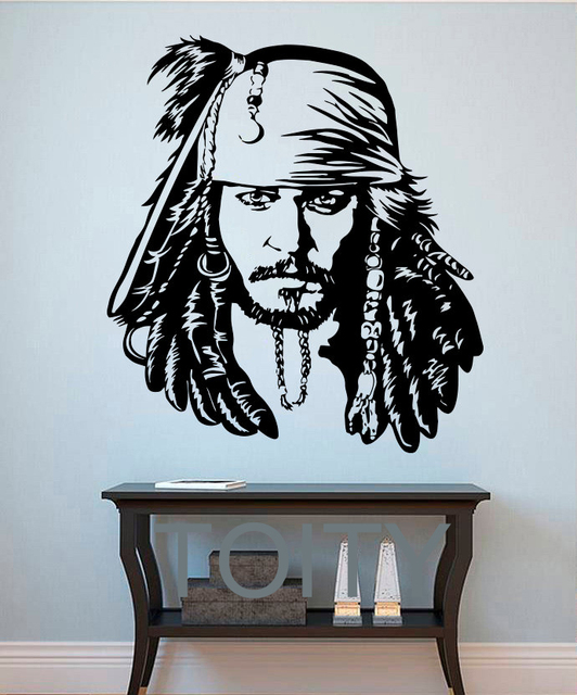 Jack Sparrow Wall Stickers Pirate Vinyl Decals The Caribbean Movie Poster  Home Interior Decor Teen Living
