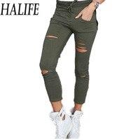 HALIFE Punk Rock Fitness Workout Leggings Women Casual High Elastic Waist Hole Stretch Jegging Legins Pantalones Mujer 10ZYQ