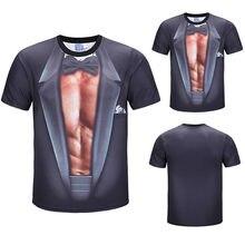 e016f472 3D T Shirt Pria Musim Panas Slim 2019 Lucu Faux Tuxedo Suit Otot 3D Lengan  Pendek O Leher Lucu Tshirt atasan Pakaian Pria