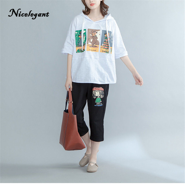 Nicelegant Korean Fashion T Shirts Women 2017 Summer Top Tees Tumblr Hooded