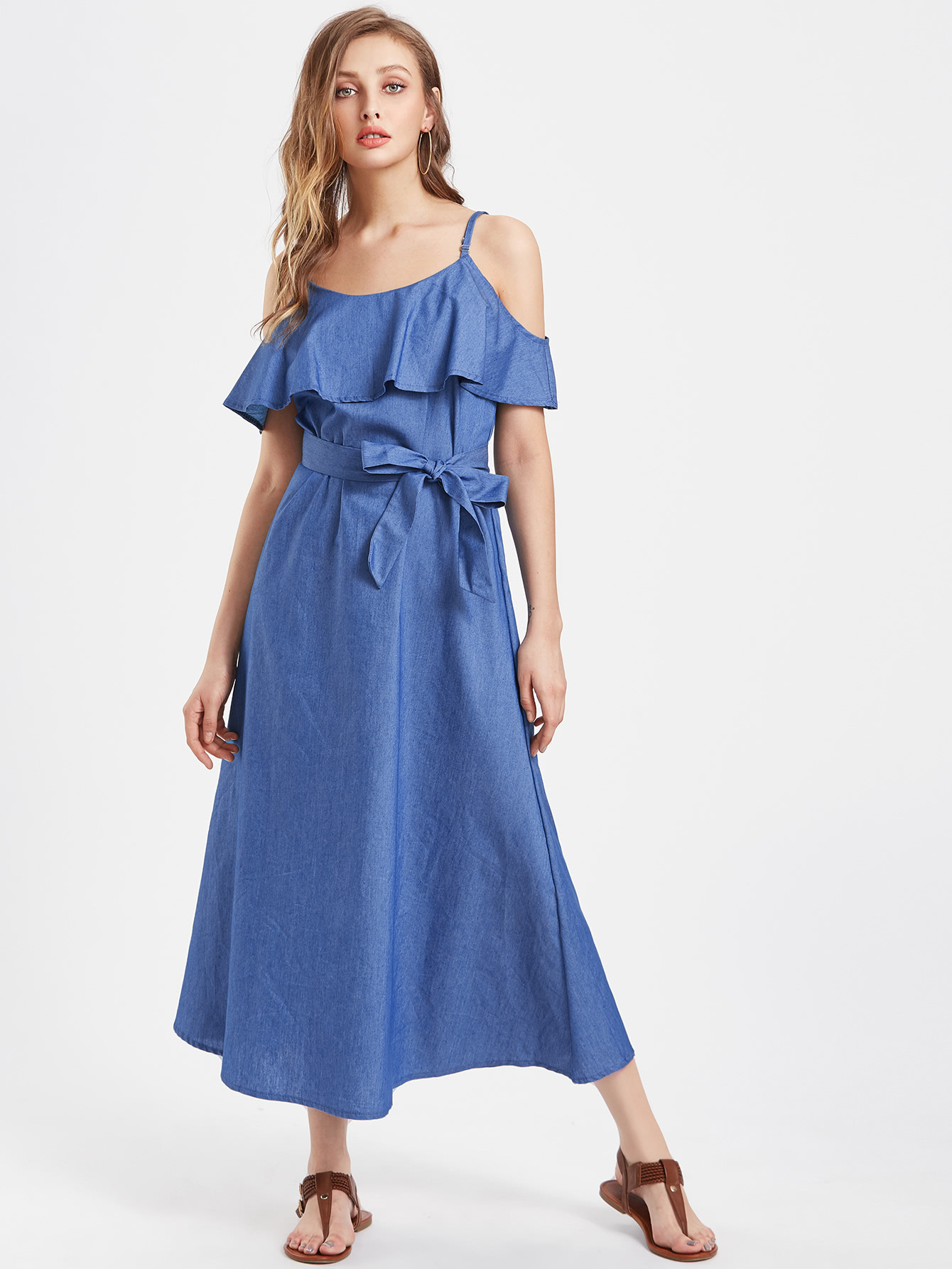 CUERLY Sexy cold shoulder denim blue plus size dress women Summer sashes ruffle jeans dresses Casual solid fashion vestidos in Dresses from Women 39 s Clothing