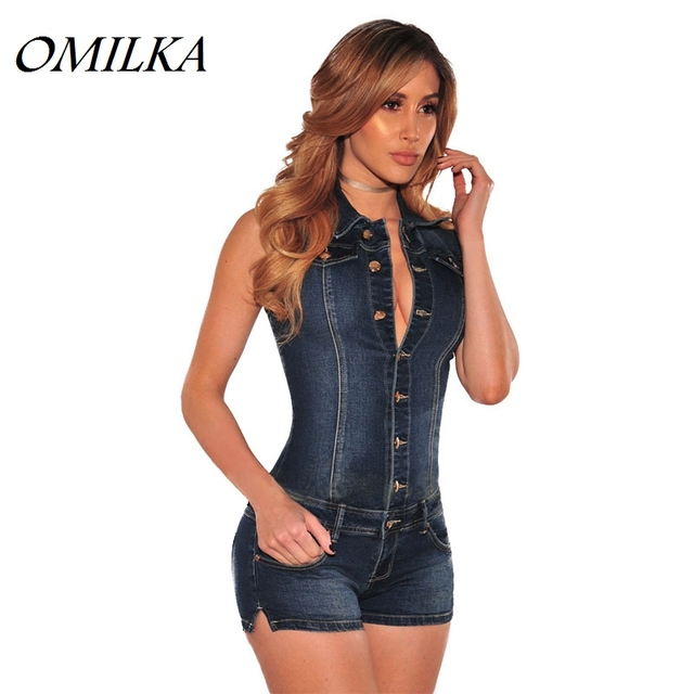 34cdd560900 OMILKA 2017 Summer Women Sleeveless V Neck Front Button Denim Playsuits Sexy  Blue Club Party Jeans Short Rompers and Jumpsuits