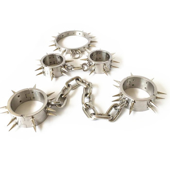 Bondage 3in1 Heavy Stainless Steel Collar+Handcuffs+Shackles Bondage Restraints Neck Collar Barbed Sex Toy for Couples G7-6-20