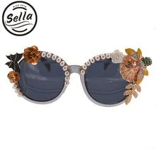 Селла Европа Стиль барокко женские солнцезащитные очки пчелы жемчужина акрил украшения преувеличены дамы солнцезащитные очки праздник для ночного клуба тенденции