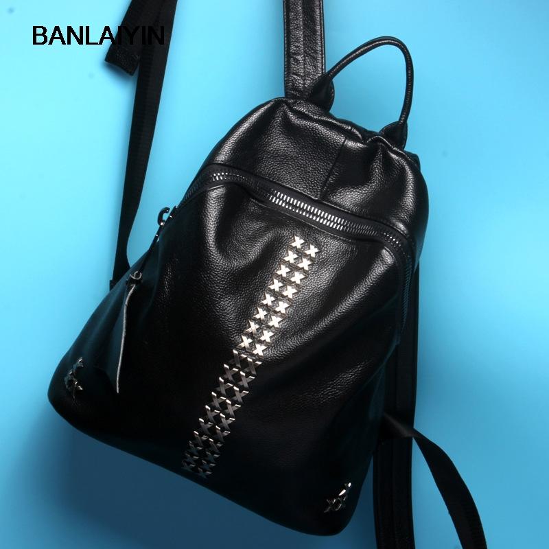 Fashion Rivets Backpack Women Genuine Leather School Bag Ladies Casual Style College Schoolbag Teenager Girl Travel Shoulder Bag new 2016 women backpack genuine leather fashion bag backpack women leisure college wind cowhide backpack girl school