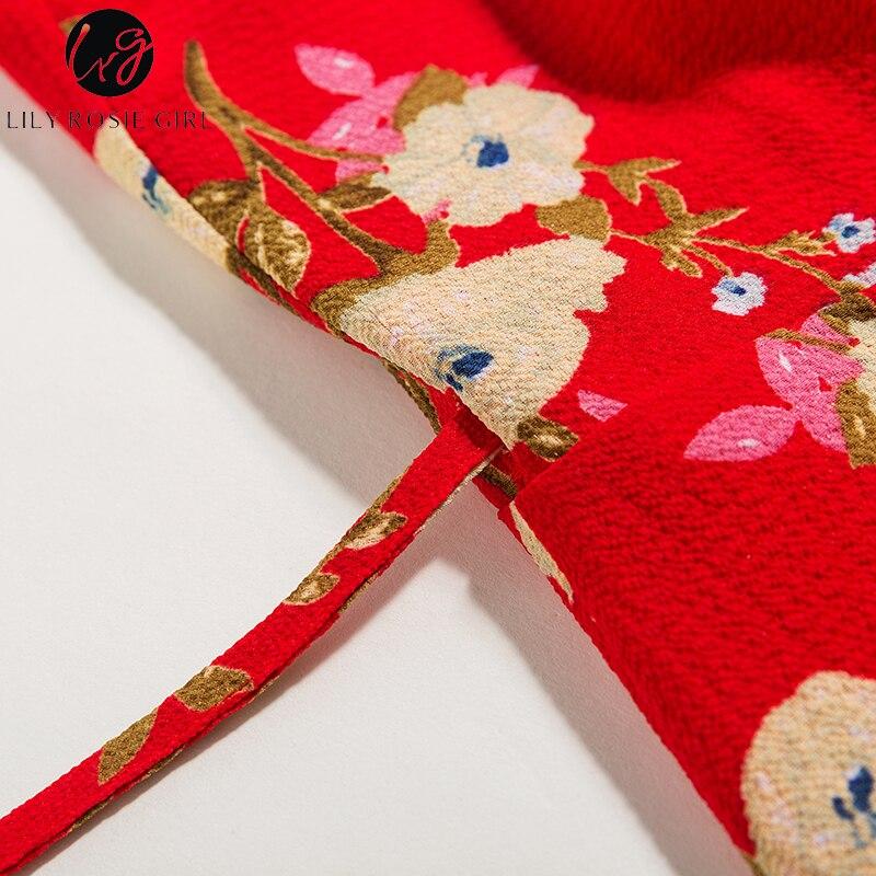 e0aa234eefcc3 US $13.99 50% OFF|Lily Rosie Girl Red Floral Prints Ruffles Women Mini  Dress 2018 Sexy V Neck Short Sleeve Wrap Short Dresses Beach Boho  Vestidos-in ...
