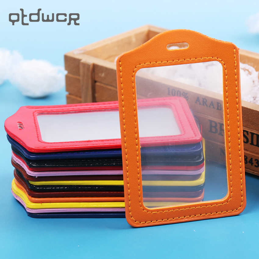 1PC PU Leather ID Badge Case Clear and Color Border Lanyard Holes Bank Credit Card Holders ID Badge Holders Accessories