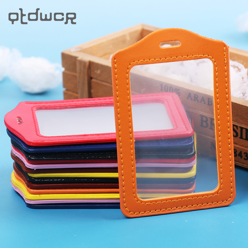 1PC PU Leather ID Badge Case Clear and Color Border Lanyard Holes Bank Credit font b