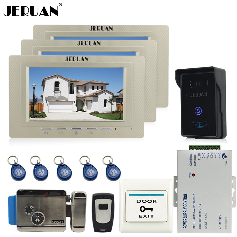 JERUAN 7 inch Video Intercom Video Door Phone System 3 monitors + 700TVL RFID Access Waterproof Touch key Camera+Electronic lock jeruan 7 inch video door phone intercom system kit rfid touch key waterproof access camera 180kg magnetic lock remote control