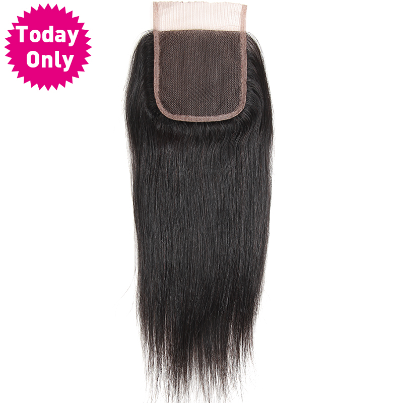 TODAY ONLY Brazilian Straight Hair Lace Closure With Baby Hair 100 Human Hair Bundles Natural