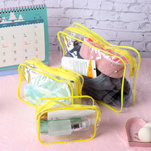 1PC Women Travel PVC Cosmetic Bags Transparent Clear Zipper Make up Organizer Bath Wash Tote Handbags Case Refillable Bottles(China)
