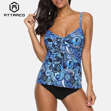 Attraco Tankini Set Women Swimwear Vintage Floral Print Swimsuit Tied Swimwear Bikini Bathing Suit Beach Wear hollow print tankini set swimwear