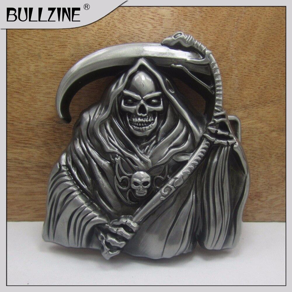 Пряжка для ремня Bullzine Skull с оловянной отделкой FP-03262 подходит для ремня шириной 4 см