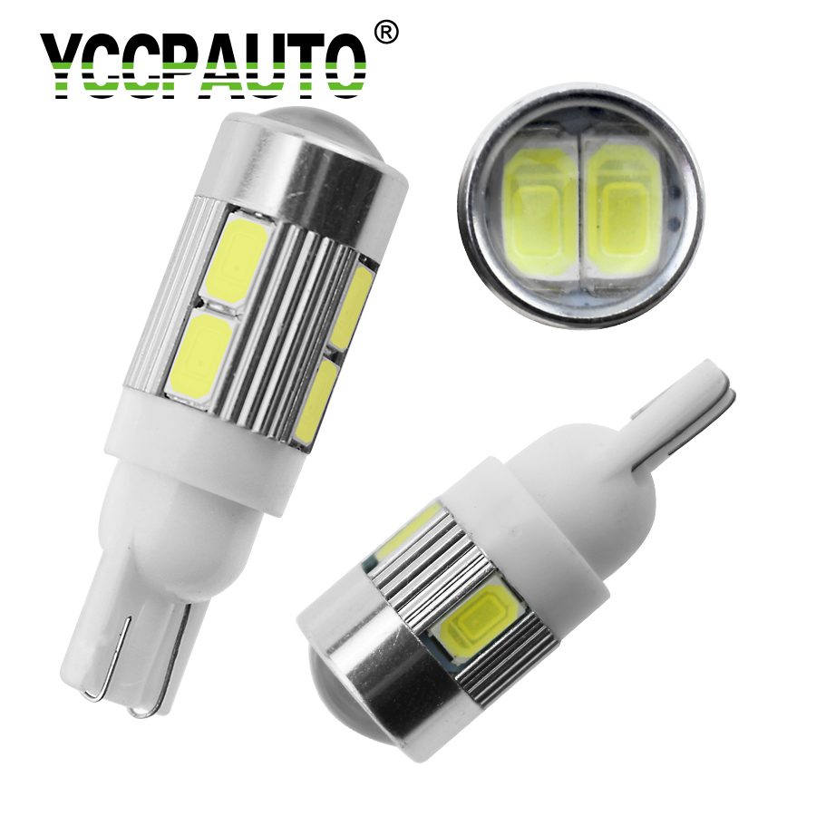 YCCPAUTO T10 W5W LED Lights 168 194 Car Wedge Side Bulbs Xenon White 6000K Auto Dome Door Map lights 5630 6SMD 10SMD DC12V 1Pcs t10 w5w 4 smd 1210 3528 dc12v 194 168 car wedge led lights 4led marker lamps auto reading dome bulbs 4smd