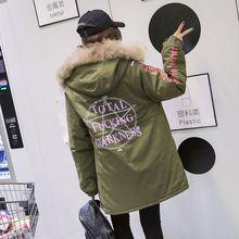 Новый Корейский зимой свободные напечатанная письмом длинный участок хлопка Цюань Zhilong с толстыми хлопка Harajuku BF