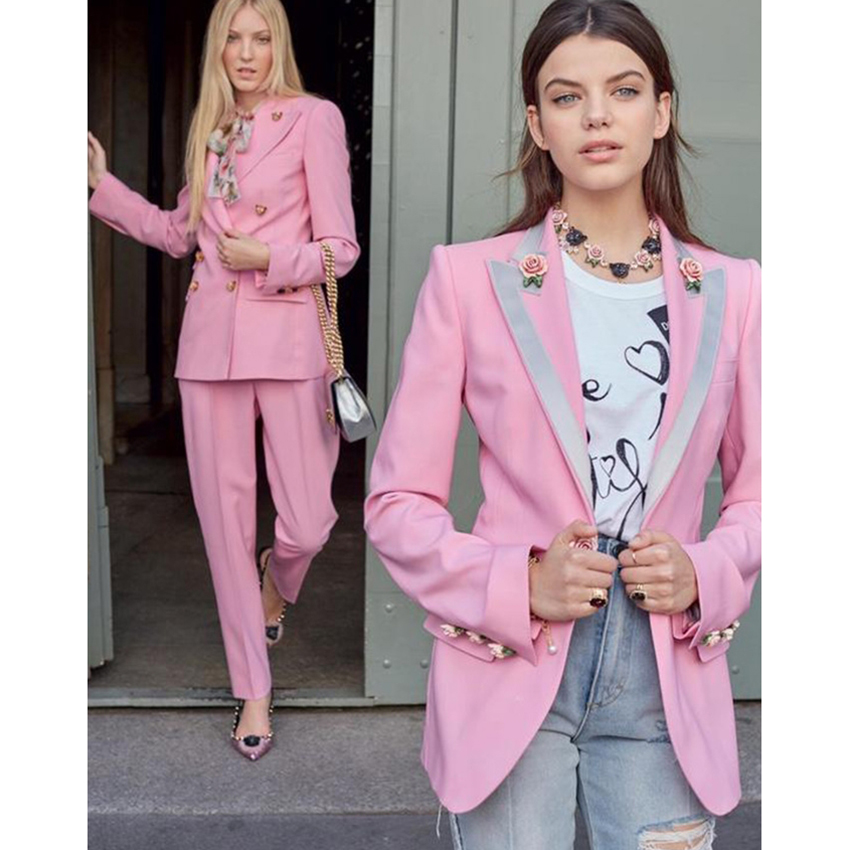 EXCELLENT QUALITY Stylish Blazer For Women Floral Lining Rose Buttons Blazer Jacket Career OL