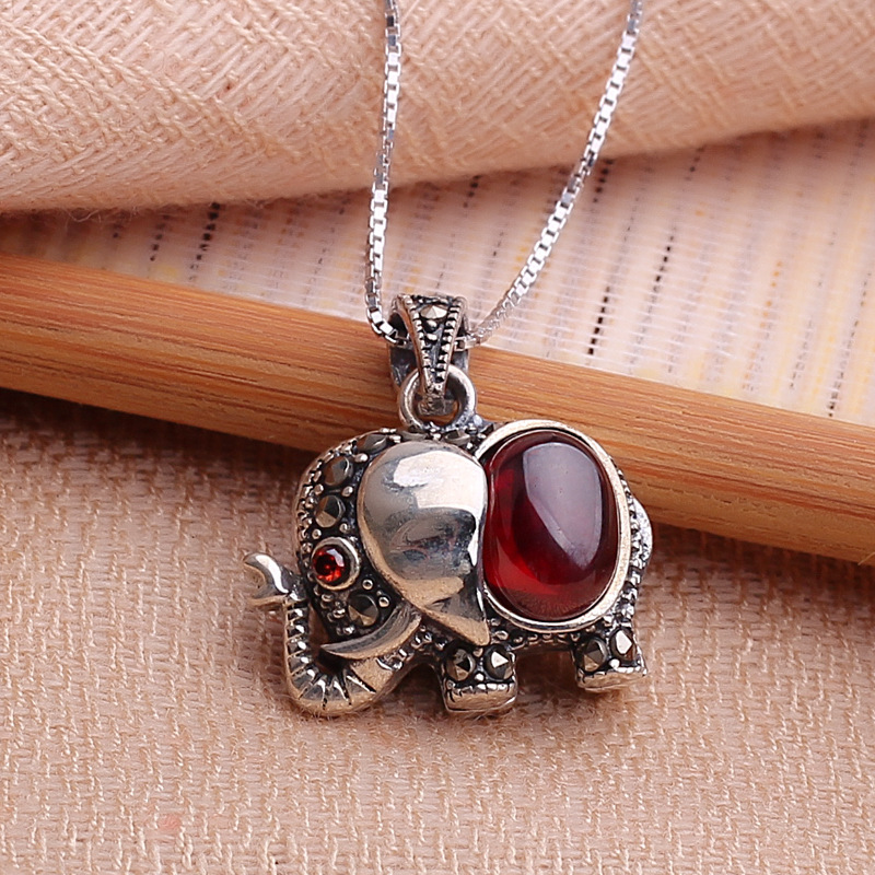 Antique Style Sterling 925 Silver Elephant Garnet Pendant  With Box Chain Silver Crystal Vintage Necklaces & Pendants Jewelry