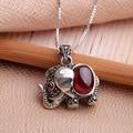 Estilo antigo 925 prata elefante enecklaces garnet pingente com cadeia de caixa de prata de cristal do vintage & pingentes jóias