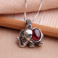 antique style sterling 925 silver elephant garnet pendant  with box chain silver crystal vintage enecklaces & pendants jewelry