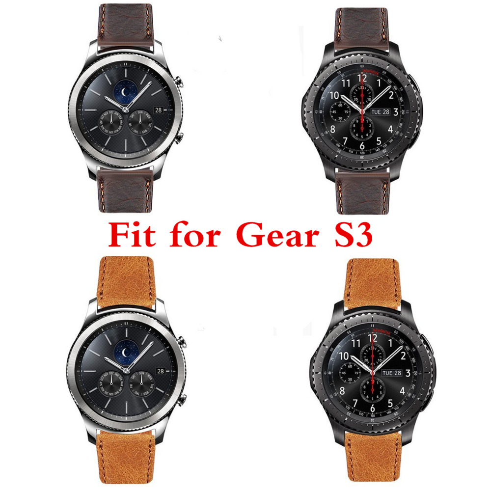 CRESTED 22mm Genuine Leather Strap for Samsung Gear S3  wrist bracelet Leather band Metal Buck Belt & Classic/Frontier crested sport silicone strap for samsung gear s3 classic frontier replacement rubber band watch strap for samsung gear s3