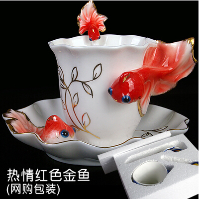 Hot enamel porcelain tea cup ceramic goldfish creative mug Chinese ceramic tea set painted fashion coffee