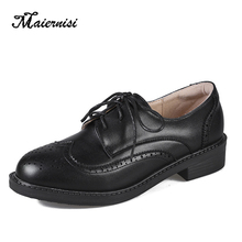 MAIERNISI Casual Small Leather Shoes Women Low-heel Four Seasons Single For Wome Black Color Boots