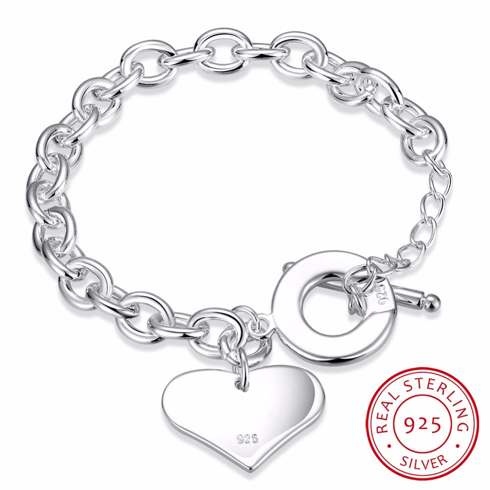 Lekani Mode Glatte Liebe Herz Charme Armband Für Frauen 925 Sterling Silber Armbänder Weibliche Hand Kette Armband Pulseira