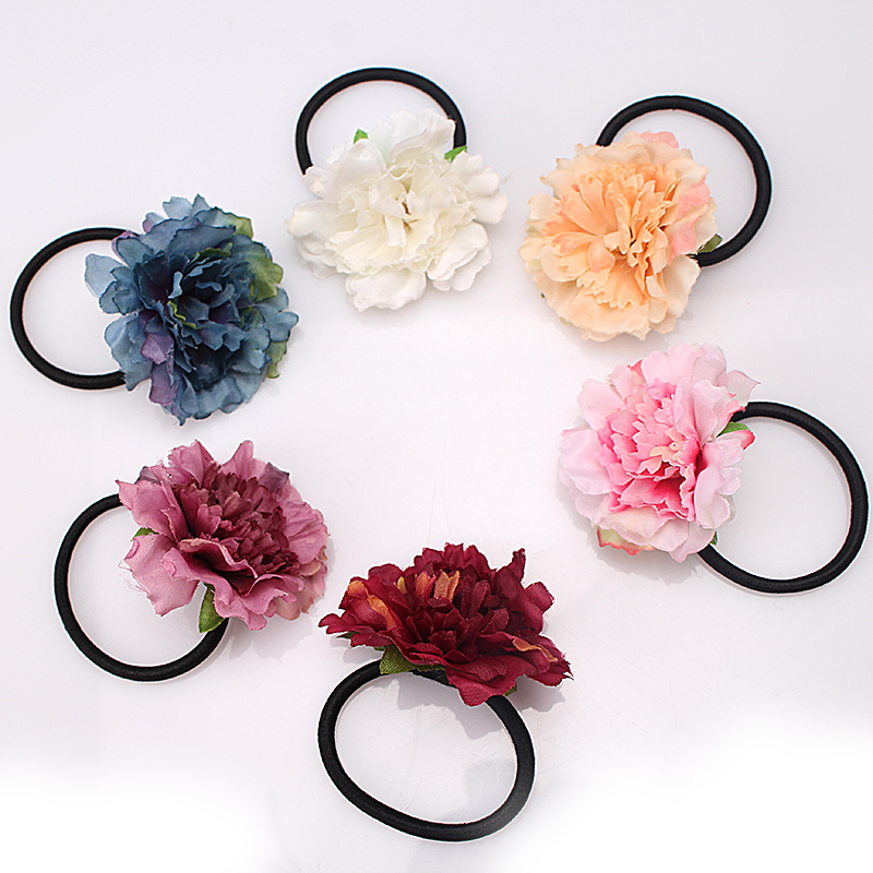 M MISM New Fabrics Flower Hair Elastic Band for Women Girls Cute Hair Accessories Ornament Rubber Gum Headdress Scrunchy metting joura vintage bohemian green mixed color flower satin cross ethnic fabric elastic turban headband hair accessories