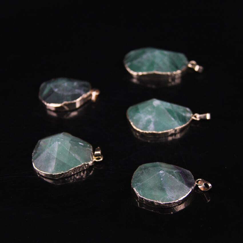 5pcs Natural Green Fluorite Faceted Slab Pendant Gold edged with Raw Fluorite Freeform Slice Oval Pendant
