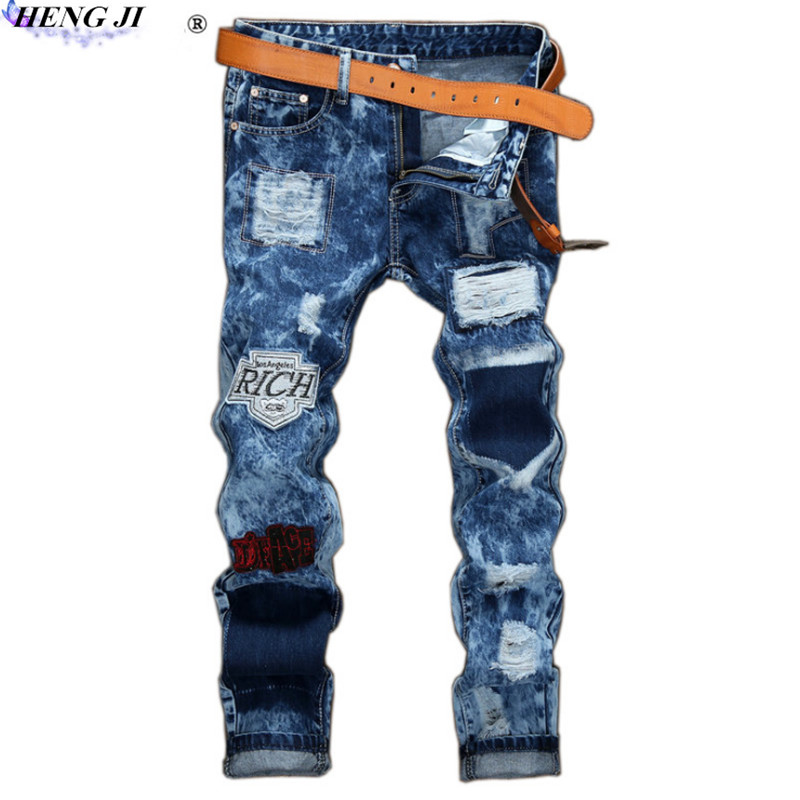 Mens badges jeans, holes and cloth snowflake jeans, straight pants, do old, embroidery,  ...