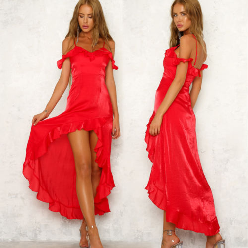 Fashion Women's Sexy Asymmetrical Formal Long Dress Off Shoulder Ruffles Solid Dresses