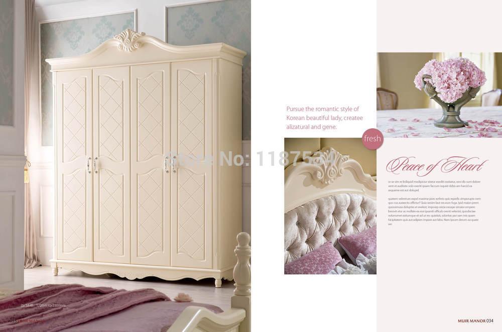 8011B dormitorio muebles de madera cuatro puertas armario pecho ...