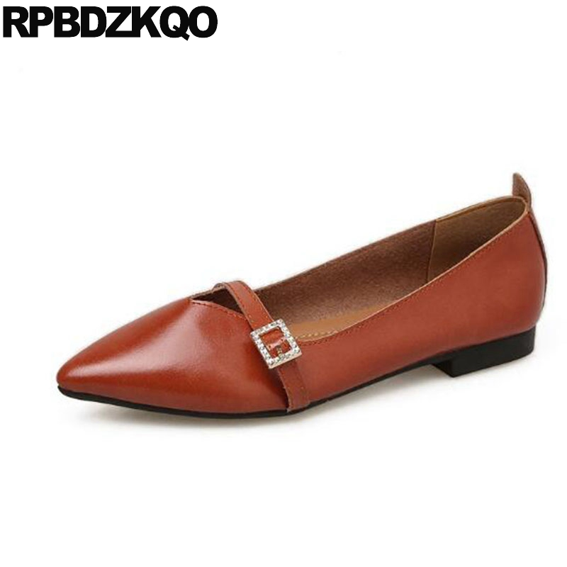 Ladies Vintage Metal Cheap Shoes China Chinese 2018 Retro Slip On Mary Jane Brown Flats Designer Japanese Pointed Toe Red Women