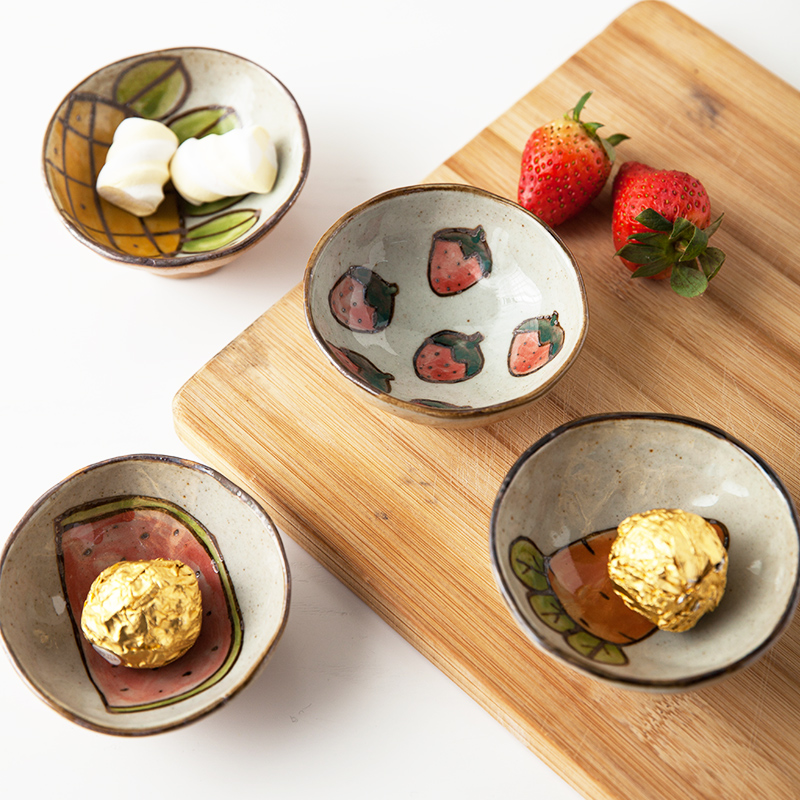 Cartoon Strawberry Ceramic Plates Creative Soy Sauce Vinegar Saucer Salad Plates China Dishes and Plates Sets Season Dishes